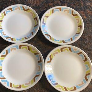 "4 Corelle Squared Pattern 6.75"" Bread Plates"
